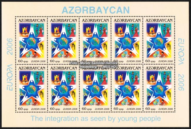 Stamp Issue Azerbaijan: Europe CEPT 2006 -Integration -  Sheetlet