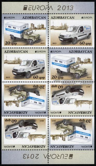 Briefmarken-Ausgabe Aserbaidschan: EUROPA CEPT Gemeinschaftsausgabe 2013 - Postfahrzeuge