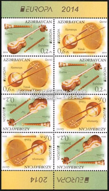 Briefmarken-Ausgabe Aserbaidschan: EUROPA CEPT Gemeinschaftsausgabe 2014 - Nationale Musikinstrumente