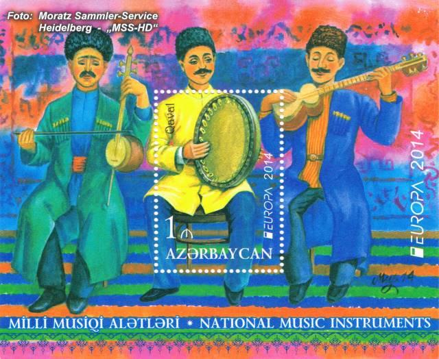 Briefmarken-Ausgabe Aserbaidschan: EUROPA CEPT Gemeinschaftsausgabe 2014 - Musikinstrumente