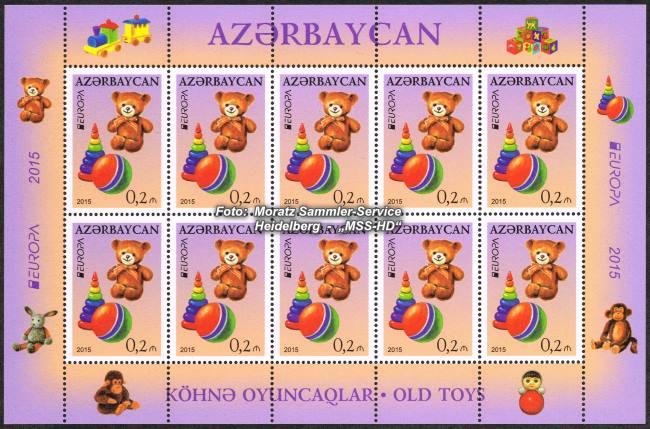 Briefmarken-Ausgabe Aserbaidschan: EUROPA CEPT Gemeinschaftsausgabe 2015 - Historisches Spielzeug