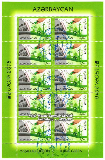 Stamp issue Azerbaijan: EUROPA CEPT Companionship 2016 - Think green