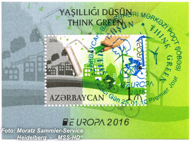 Briefmarken-Ausgabe Aserbaidschan: EUROPA CEPT Gemeinschaftsausgabe 2016 - Umweltbewusst leben