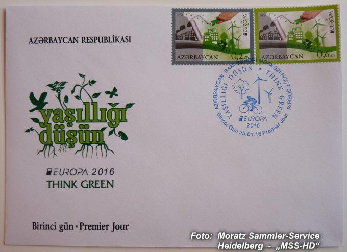 Stamp issue Azerbaijan: EUROPA CEPT Companionship 2016 - Think green