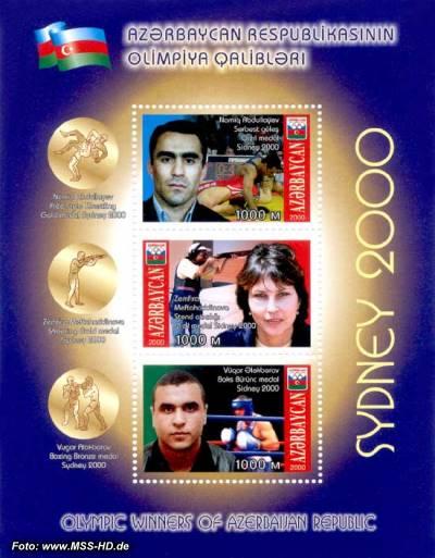 Briefmarken-Ausgabe Aserbaidschan: Gewinner Olympiade 2000, Sydney