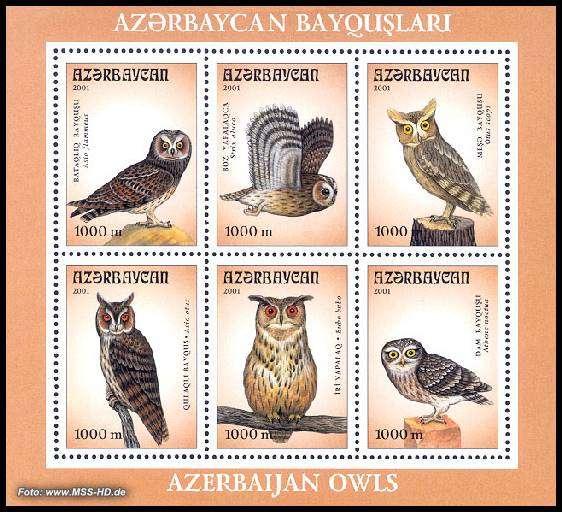Stamp Issue Azerbaijan: Owls, s/s 48