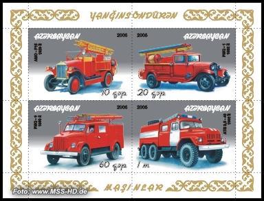 Briefmarken-Ausgabe Aserbaidschan: Feuerwehrfahrzeuge