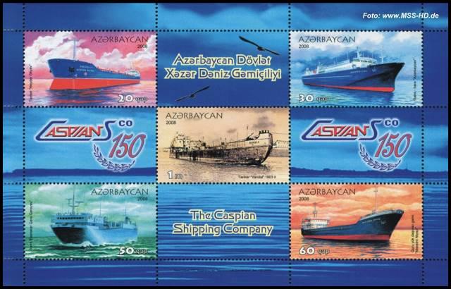 Briefmarken-Ausgabe Aserbaidschan: 150 Jahre Kaspische Schifffahrtsgesellschaft