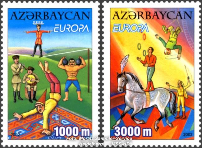 Briefmarken-Ausgabe Aserbaidschan: Europa CEPT Gemeinschaftsausgabe 2002 - Zirkus