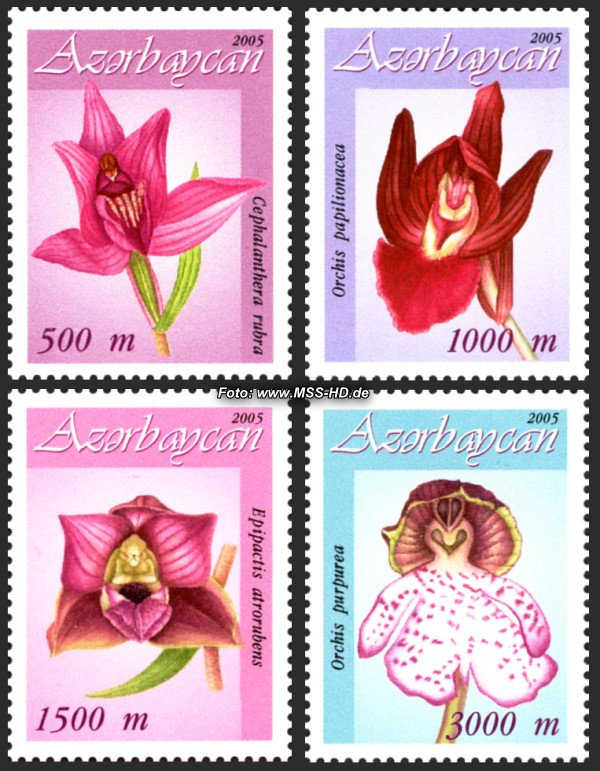 Stamp Issue Azerbaijan: Orchids - set