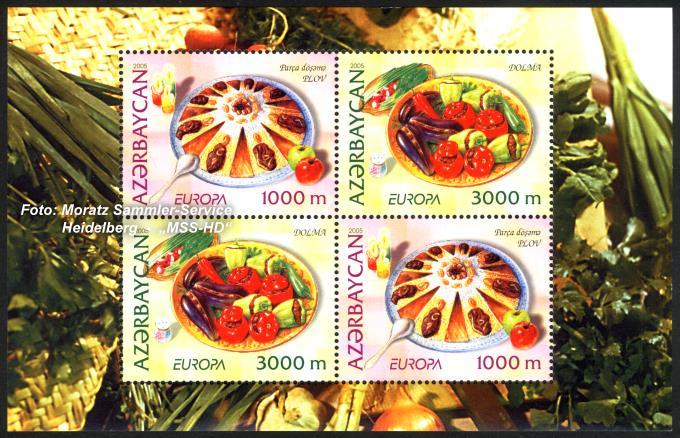 Briefmarken-Ausgabe Aserbaidschan: Europa CEPT Gemeinschaftsausgabe 2005 - Gastronomie