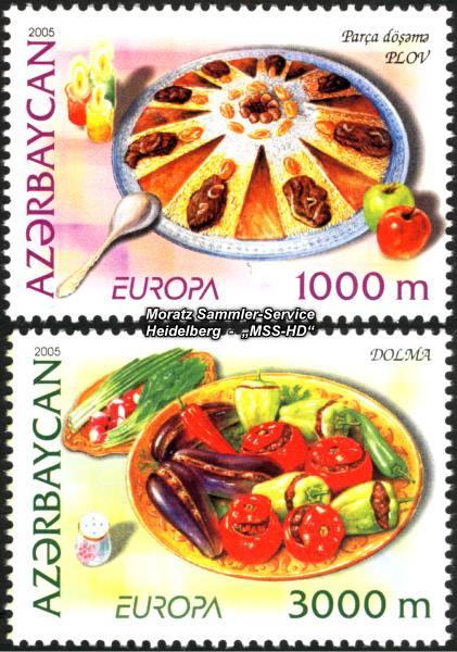 Briefmarken-Ausgabe Aserbaidschan: Europa CEPT Gemeinschaftsausgabe 2005 Gastronomie
