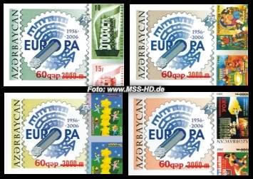 Stamp Issue Azerbaijan: Europe Stamps 50 Years - imperforated overprint, 686-89B