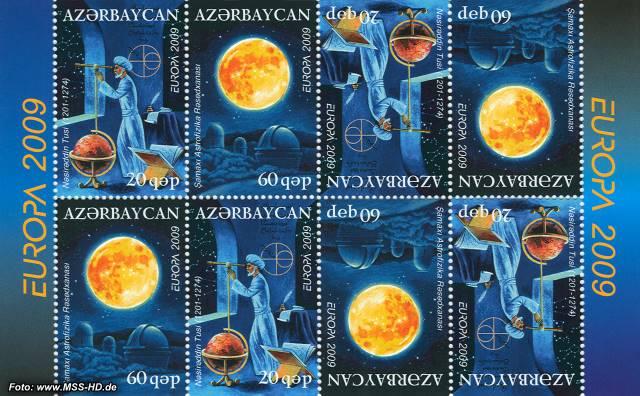 Briefmarken-Ausgabe Aserbaidschan: Europa CEPT Gemeinschaftsausgabe 2009 Astronomie
