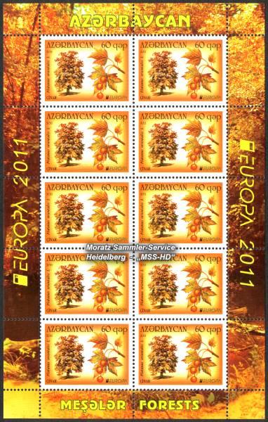 Briefmarken-Ausgabe Aserbaidschan: Europa CEPT Gemeinschaftsausgabe 2011 Wälder