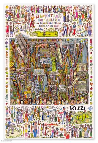"james Rizzi: ""Manhattan Golf Classic"" Poster / Plakat"