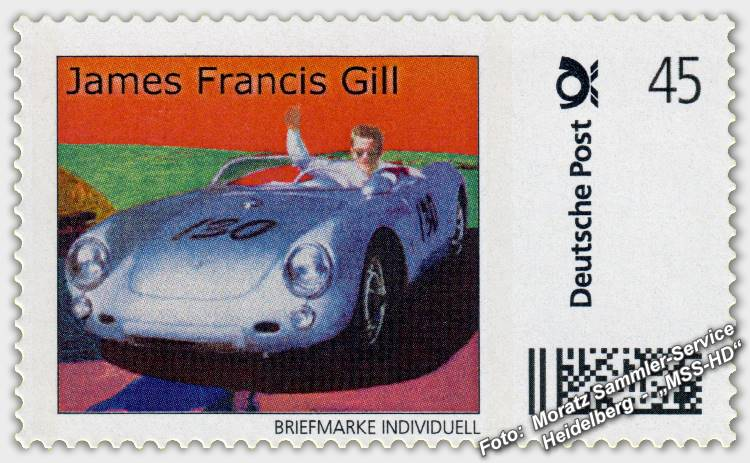 James Francis Gill - Briefmarke - postage stamp - Little Bastard (James Dean, Porsche 550 Spyder)