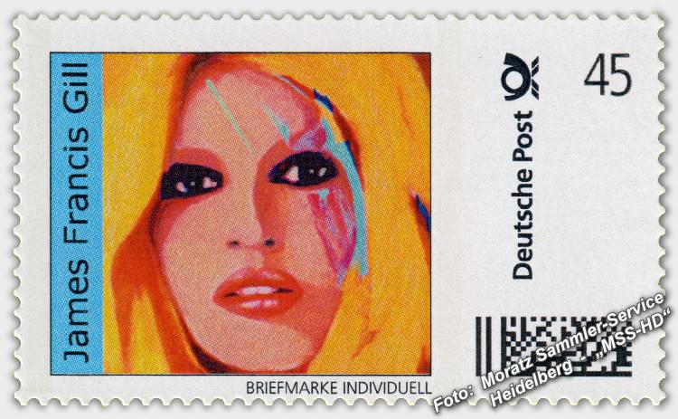 "James Francis Gill - Briefmarke - postage stamp - ""BB Beauty"" (Brigitte Bardot)"