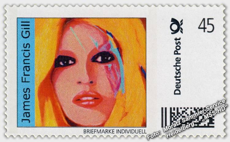 "James Francis Gill - Briefmarke - postage stamp - ""BB Beauty"" (Brigitte Bardot)"